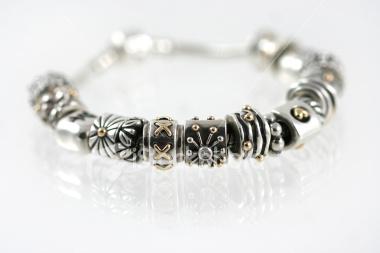 bracelet- silver & gold beads